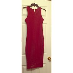 Super cute Red Midi Dress  Adorable! Brand new never worn. **SMUDGE IN PHOTO IS FROM MY MIRROR! Not actually on dress. ** This stretchy dress is super cute and flattering. Dresses Midi