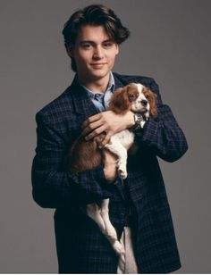 This is the only picture of Johnny Depp I have ever liked. Because of the puppy, obviously. #puppies #johnnydepp #cute