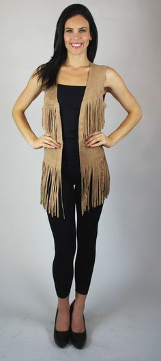 Beautiful Western Cowboy Indian Fringed Beaded Vest Top Faux Suede Tan Junior Free Shipping