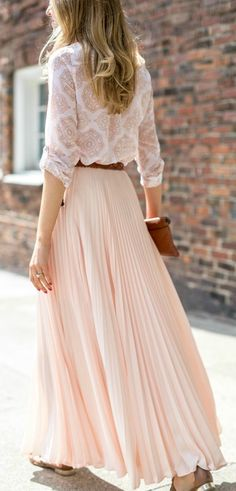 peach blush pink pleated chiffon maxi skirt, medallion print tunic shirt, brown braided belt, flat brown leather fringe sandals with gold accents