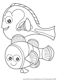 Nemo and Dory coloring sheets free at Kids Games Central