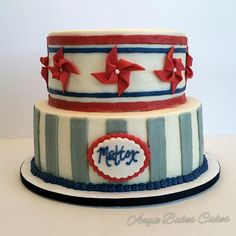 Vintage red white and blue baby shower cake
