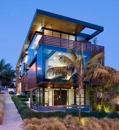 Modern wood and glass beach house in California