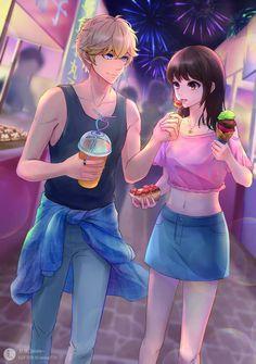 Arte de 舒 姝 _lalala ~ - Pair - anime Anime Art Girl, Manga Girl, Anime Girls, Anime Love Story, Manga Love, Anime Couples Drawings, Anime Couples Manga, Couple Drawings, Manga Couple