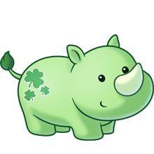 Green Rhino baby with clovers - cute! Cute Animal Drawings, Kawaii Drawings, Cute Drawings, Cute Cartoon Animals, Baby Animals, Cute Animals, Cute Images, Cute Pictures, 365 Kawaii