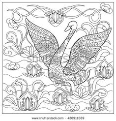 hand drawn decorated cartoon swan with doodle flowers in the lake image for adult and children coloring pagesdoodle