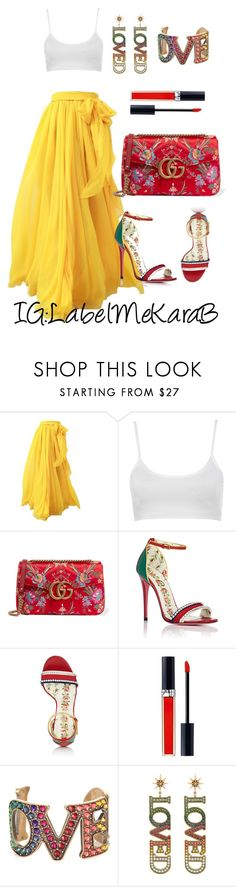"""""""KB094"""" by labelmekarab on Polyvore featuring Gucci, Christian Dior, yellow, red, gucci and LabelMeKaraB"""