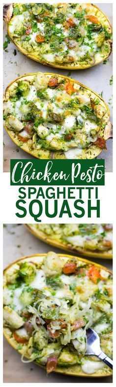 Chicken Pesto Spaghetti Squash | Healthy low-carb, high protein dinner!