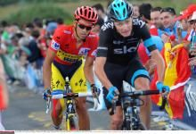 Chris Froome (Team Sky) trying to drop Alberto Contador (Tinkoff-Saxo)