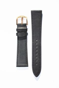 20mm Black Flat Leather Watchband with Gold-Plated Buckle and Leather Lining. This Watchband by Toscana is a Classic. Genuine Leather with tan leather lining and S/S Buckle. Great Price.