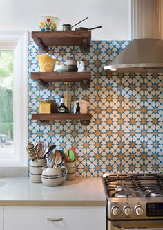 Nevie & Annie's Kitchen - backsplash and shelves; by Hello Kitchen, photo by Whit Preston