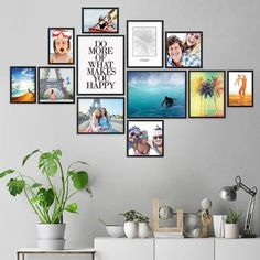 - Picture walls have a very special charm and give your own home an individual character. The modern picture frame set of 12 makes it easy to design an individual picture wall yourself Decoration Photo, Photo Wall Decor, Family Wall Decor, Wall Collage, Frames On Wall, Photo Arrangements On Wall, Collages D'images, Gallery Wall Layout, Cool Wall Art