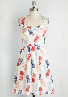 Whimsical and the Gang Dress - Sundress, Multi, Red, Blue, White, Casual, Vintage Inspired, 50s, Fruits, Food, Sleeveless, Summer, Sweetheart, Mid-length, Americana