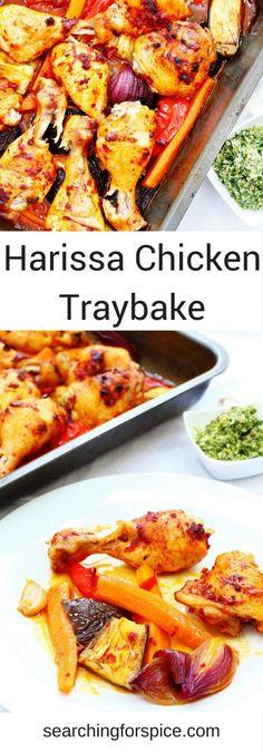 This harissa chicken traybake recipe is an easy midweek meal. #harissarecipes #chickenrecipes #sheetpandinners #chickentraybake
