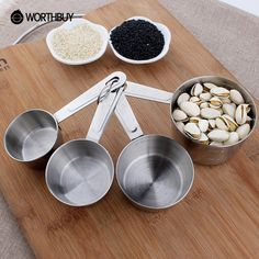 WORTHBUY 4 Pcs/Set Stainless Steel Measuring Cup Kitchen Measuring Tools Sets For Baking Sugar Coffee Graduated Spoons Scoop casserole ~*~ Detailed information can be found on  AliExpress.com. Just click the VISIT button. #KitchenMeasuringTools