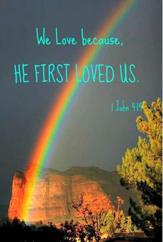 Storms and rainbows come in pairs. Biblical Quotes, Religious Quotes, Jesus Quotes, Christian Quotes About Life, Christian Love, Christian Living, Rainbow Promise, Christian Facebook Cover, He First Loved Us