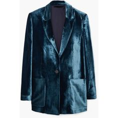 MANGO MANGO Velvet Blazer ($150) ❤ liked on Polyvore featuring outerwear, jackets, blazers, blue jackets, blue blazer, lined jacket, long sleeve jacket and velvet blazer