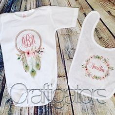 Personalized Dreamcatcher and Wreath One Piece Baby Outfit and Bib by Craftigators on Etsy https://www.etsy.com/listing/514299895/personalized-dreamcatcher-and-wreath-one