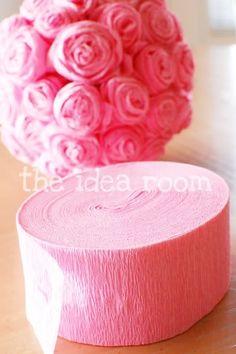 Tissue Rosette Kissing Balls  #crafty-schmafty