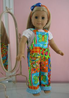 18 inch American Girl Doll Clothes bib overalls with peasant top and hairband . Doll Clothes Barbie, Doll Clothes Patterns, Doll Patterns, Boy Doll, Girl Dolls, American Girl Clothes, American Dolls, Wellie Wishers Dolls, Ag Dolls