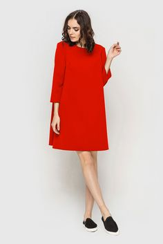 Red mini bell dress  29$.  The #bell-dress lets us to create lots of creative #looks, #red colour also adds some extravagant. This model was made especially for self-confident girls, who used to choose wardrobe suitable for their character. The attention of surrounding people will be guaranteed not only by the bright colour and by a mini length at the same time, which emphasizes a femininity and beauty of yours figure. #VOVK