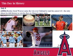 This day in Angels history -  July 8, 2001: For the first time in club history, the Angels homered for the cycle in a game at Colorado (Garret Anderson, grand slam, 1st inning; Darin Erstad, 3-run, 2nd inning; Scott Spiezio, 2-run, 2nd inning; Erstad, solo, 4th inn.);  (2006) Rookie Jered Weaver earns the win over Oakland to start his career 6-0 - the only player in club history to win his first six Major League starts.