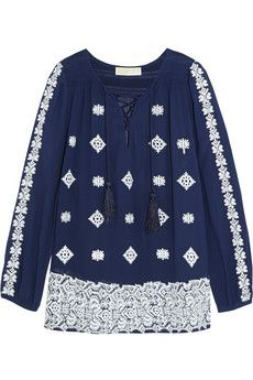 MICHAEL Michael Kors Embroidered georgette blouse | NET-A-PORTER