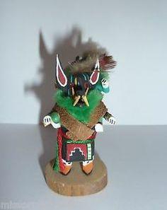 Small Vintage HOPI Mini Black Wolf Ogre Piggyback Clowns Kachina Dolls Signed