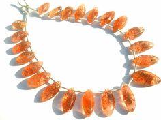 Sunstone Smooth Marquise Semiprecious Gemstone by beadsogemstone, $19.94