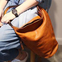 bb16e3d6a22f Handmade Genuine Leather Tote Bucket Bag Handbag Shoulder Crossbody Bag  Purse Clutch For Women