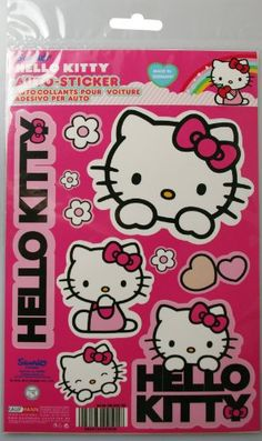 Hello Kitty PVC Car Sticker Set Kitties Hearts Flowers Stickers See This Great Product