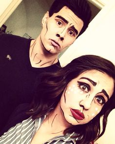 Halloween Comic book popart makeup couples costume