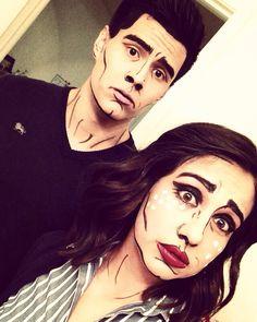 Halloween Comic book popart makeup couples costume