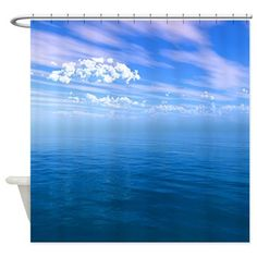 Future Imaging Designs: Blue Ocean Blue Sky with Clouds Shower Curtain: Blue open Ocean Water spanning forever with a fluffy white cloud cover and blue sky. Sky And Clouds, Phone Covers, Ocean, Curtains, Shower, Future, Water, Blue, Outdoor
