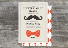 Little Man Party Invitation First Year por brightsideprints en Etsy, $28.35