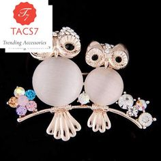 355348c6e4c Crystal Big Owl Brooches Pins for Women Fashion Opal Owl Broches for Dress  Hat Scarf Buckle Wedding Accessories Joyeria Gifts