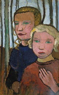 Paula Modersohn-Becker - Figurative Painting - German Expressionism - Two Girls in Front of Birch Trees