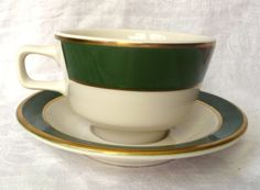Homer Laughlin Best China Restaurantware Cup and Saucer with Dark Green and Gold Bands. At AngelGrace on Etsy.