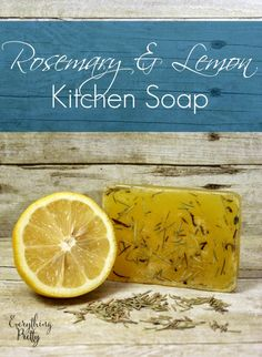 Easy kitchen soap recipe with lemon essential oil and dried rosemary.