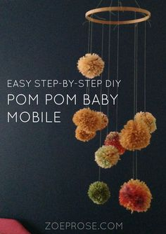 Want to make an easy and simple mobile for baby? Check out this sweet pompom mobile DIY.