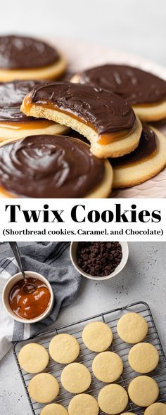Twix Cookies are famous shortbread cookies topped with creamy caramel and milk chocolate. This delicious homemade cookie recipe tastes exactly like the classic twix cookie bars! Chocolate Chip Cookies, Twix Cookies, Chocolate Cookie Recipes, Yummy Cookies, Chocolate Ganache, Twix Cookie Bar Recipe, Cake Mix Cookie Recipes, Cookie Bars, Dessert Recipes