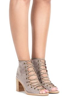 Jeffrey Campbell Shoes CORS Booties in Taupe Suede  my actual dream shoe...........