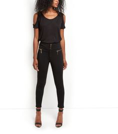 Cameo Rose Black Button Front Trousers | New Look