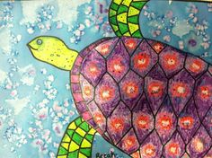 Turtle picture - use salt on watercolor to create water texture. Also reviews shapes and patterns in the turtle's shell. I found this at https://lh3.googleusercontent.com/-2lkGaU4dTtE/UTdxcS2SW6I/AAAAAAAAFSI/SbtnJWRc-4k/s640/blogger-image--633747294.jpg...great idea!