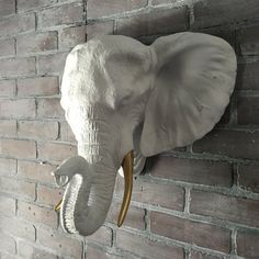 ANY COLOR XL Elephant Head Wall Bust Sculpture // by KINGFOUR