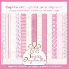 Papeles estampados de la colección de Princesa Estrellita. http://www.tarjetasimprimibles.com.ar