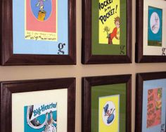 Dr. Seuss pages framed.