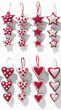 3 hanging felt stars/hearts in patchwork £2.86