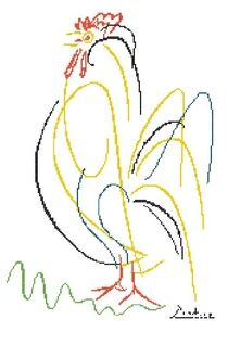 Picassso's Rooster Cross Stitch Pattern  Love the simplicity of it!  Wouldn't this be cute on a kitchen towel, too?
