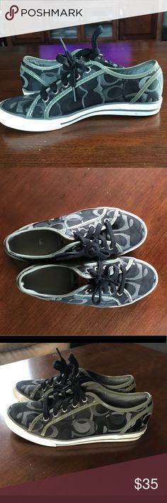 Coach Sneakers This are gently used Coach sneakers in black and grey. Very comfy! They are in great condition. Some staining on the white part but may be cleaned, see pictures. Coach Shoes Sneakers